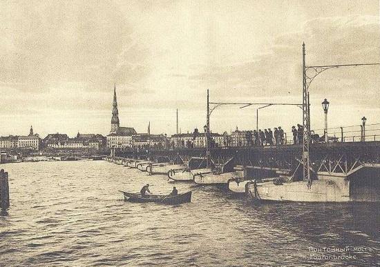 Понтонный мост в начале 20 го века